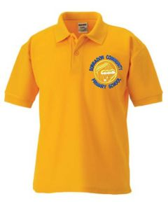 Gold Polo - Embroidered with Burradon Community Primary School logo