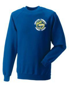 Royal Sweatshirt - Embroidered with Burradon Community Primary School logo