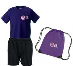 FULL PE Kit (Purple T-Shirt, Black Shorts & Purple PE Bag) - Embroidered with Bexhill Academy Logo