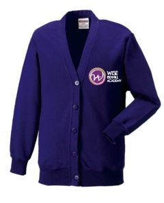 Purple Sweat Cardigan - Embroidered with Bexhill Academy Logo
