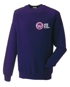Purple Crew-neck Sweatshirt - Embroidered with Bexhill Academy Logo