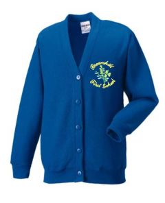 Royal Sweat Cardigan - Embroidered with Broomhill First School logo