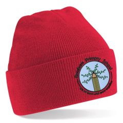 Red Knitted Hat - Embroidered with Bowburn Primary School Logo