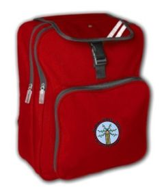 Red Back Pack - Embroidered with Bowburn Primary School Logo