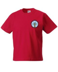 Red PE T-Shirt - Embroidered with Bowburn Primary School Logo