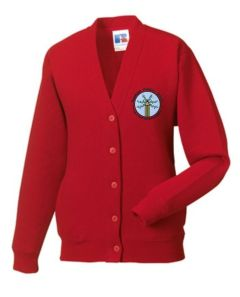 Red Sweat Cardigan - Embroidered with Bowburn Primary School Logo