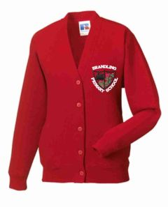 Red SweatCardigan - Embroidered with Brandling Primary School Logo