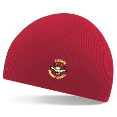 Red Knitted Beannie Hat - Embroidered with Caedmon Primary School (Gateshead) Logo