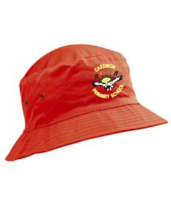Red Cotton Beannie Hat - Embroidered with Caedmon Primary School (Gateshead) Logo