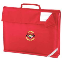 Red Book Bag - Embroidered with Caedmon Primary School (Gateshead) Logo