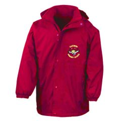 Red Stormproof Coat - Embroidered with Caedmon Primary School (Gateshead) Logo