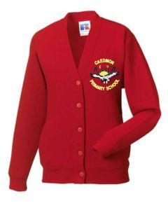 Red SweatCardigan - Embroidered with Caedmon Primary School (Gateshead) Logo
