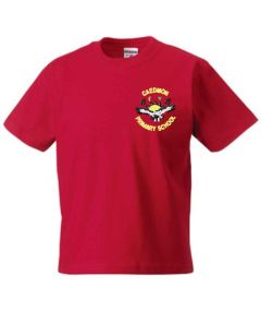 Red PE T-shirt - Embroidered with Caedmon Primary School (Gateshead) Logo