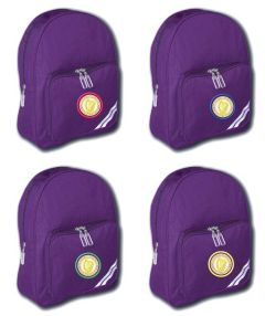 Purple Infant Backpack - Embroidered with Caedmon Primary School (Middlesbrough) logo
