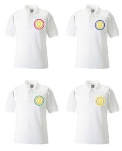 White Polo - Embroidered with Caedmon Primary School (Middlesbrough) logo