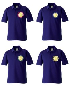 Purple Polo - Embroidered with Caedmon Primary School (Middlesbrough) logo