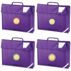 Purple Bookbag - Embroidered with Caedmon Primary School (Middlesbrough) logo