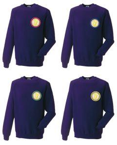 Purple Sweatshirt - Embroidered with Caedmon Primary School (Middlesbrough) logo