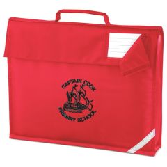 Red Book Bag - Embroidered with Captain Cook Primary School Logo