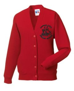 Red SweatCardigan - Embroidered with Captain Cook Primary School Logo