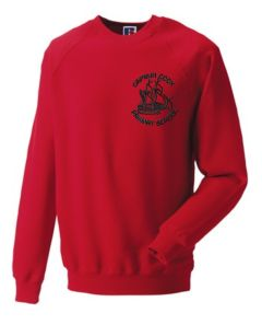 Red Crew-neck sweatshirt - Embroidered with Captain Cook Primary School Logo
