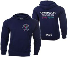 Navy Hoodie - Embroidered with Crakehall CofE School logo