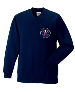 Navy V-Neck Sweatshirt *Year 6 Only* - Embroidered with Crakehall CofE School logo