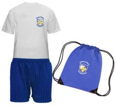 FULL PE Kit - T-Shirt, Shorts & PE Bag - Embroidered with Chester Le Street Primary School Logo