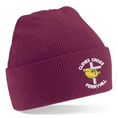 Burgundy Knitted Hat - Embroidered With Cleves Cross Primary School Logo