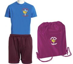 PE KIT (T-shirt, Shorts & PE Bag) - Embroidered with Cleves Cross Primary School logo