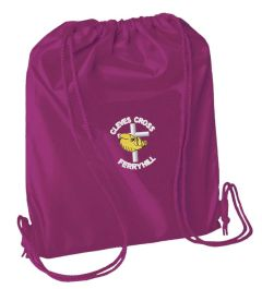 Burgundy PE Bag - Embroidered with Cleves Cross Primary School logo