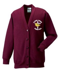 Claret Sweat Cardigan - Embroidered with Cleves Cross Primary School logo