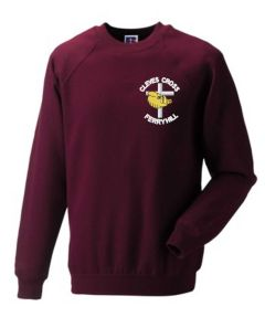 Claret Sweatshirt - Embroidered with Cleves Cross Primary School logo