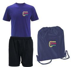 FULL PE Kit (Royal T-Shirt, Black Shorts & Navy PE Bag) - Embroidered with Coxhoe Primary School Logo