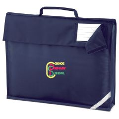 Navy Book Bag - Embroidered with Coxhoe Primary School Logo