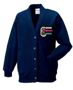 Ink Blue SweatCardigan - Embroidered with Coxhoe Primary School Logo