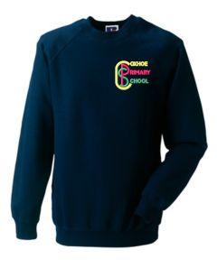 Ink Blue Crew-neck sweatshirt - Embroidered with Coxhoe Primary School Logo