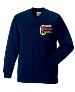 Ink Blue V-Neck Sweatshirt - Embroidered with Coxhoe Primary School Logo