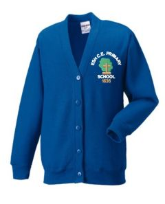 Royal SweatCardigan - Embroidered with Esh C.E. Primary School Logo