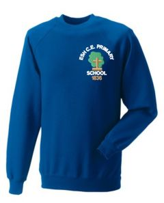 Royal Crew-neck sweatshirt - Embroidered with Esh C.E. Primary School Logo
