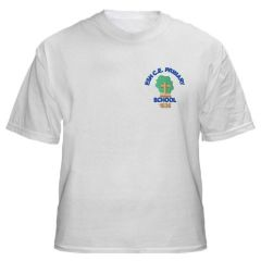 White PE T-shirt - Embroidered with Esh C.E. Primary School Logo