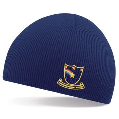 Navy Knitted Beannie Hat - Embroidered with Farringdon Academy Logo