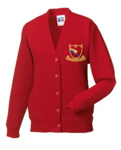 Red Cardigan - Embroidered with Farringdon Academy Logo