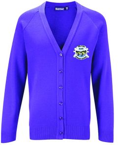Purple Knitted Cardigan Embroidered with Felton CofE Primary School Logo