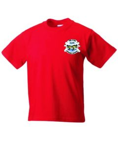 Red PE T-Shirt - Embroidered with Felton CofE Primary School logo
