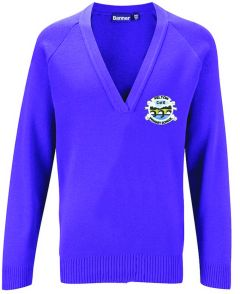 Purple Knitted V-Neck Jumper Embroidered with Felton CofE Primary School Logo