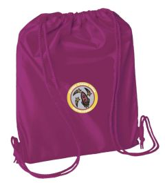 Burgundy PE Bag - Embroidered with Fordley Primary School Logo