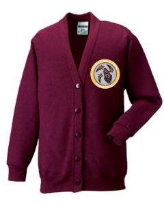Burgundy SweatCardigan - Embroidered with Fordley Primary School Logo