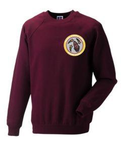 Burgundy Crew-neck sweatshirt - Embroidered with Fordley Primary School Logo