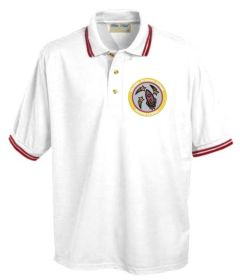 White/Burgundy Tipped Polo - Embroidered with Fordley Primary School Logo